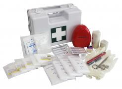 first aid box a in white box