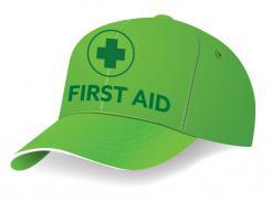 green cap with printing in dark green