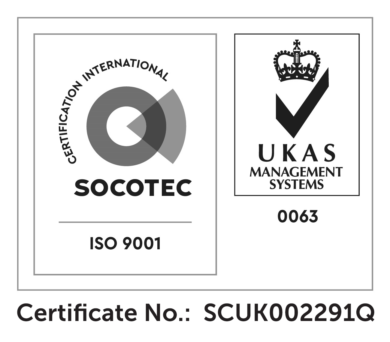 ISO Certificate Number SCUK002291Q