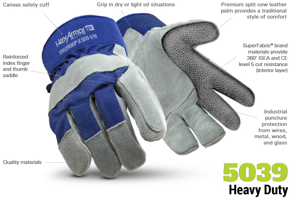 Northrock Safety / HexArmor SteelLeather IX 5039 Gloves,barbed wire ...